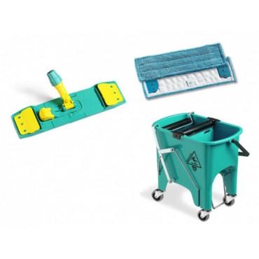 Plastikinio kibiro su ratukais ir nugręžėju komplektas: laikiklis ir pašluostė