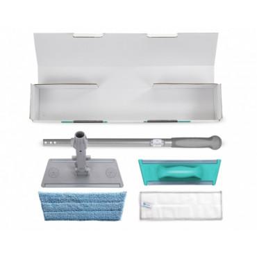 Stiklų valymo komplektas: trumpas kotas, laikiklis ir šluostės