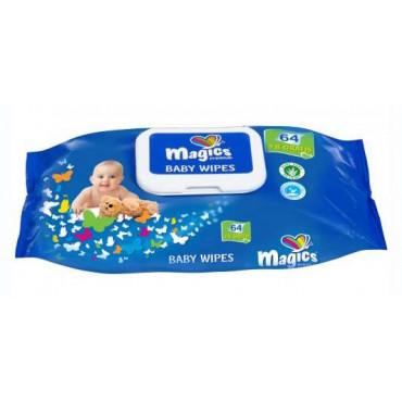 Vaikiškos drėgnos servetėlės Dailee Magics Baby Wipes 64+8