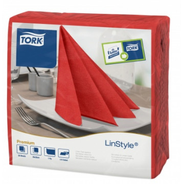 Stalo servetelės Tork Premium LinStyle, 39x39cm, raudonos, 1sl.