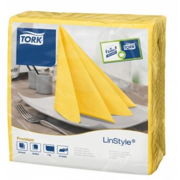 Stalo servetelės Tork Premium LinStyle, 39x39cm, pasiflorų geltonumo spalvos, 1sl.
