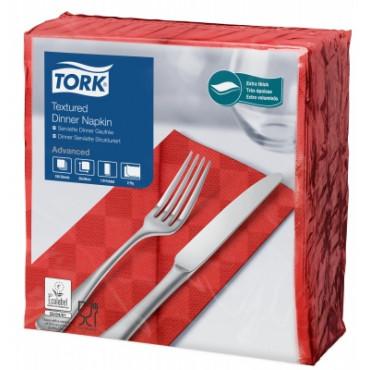 Stalo servetelės Tork Advanced su tekstūra, 38x39cm, sulankstymas 1/8, raudonos, 2sl.