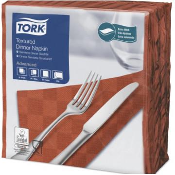 Stalo servetelės Tork Advanced Textured, 38x39cm, terakotos spalvos, 1/4 sulankstymo, 2sl.