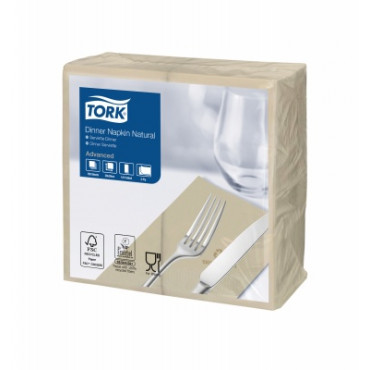 Ekologiškos stalo servetelės Tork Advanced Dinner, 39x39cm, 2 sl, natūralios spalvos, 1/8 lankstymo