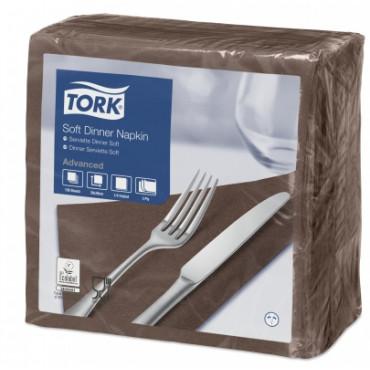Stalo servetėlės Tork Advanced, 33x33 cm, sulankstymas 1/4, tamsiai rudos, 3sl.