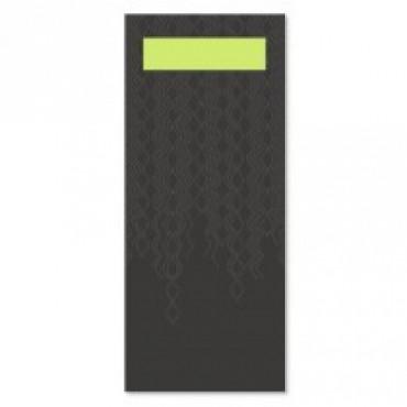 Stalo įrankių vokeliai su servetėle Tork Advanced, juodos/žaliosios citrinos spalvos, 100vnt.
