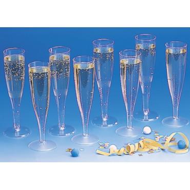 Vienkartinės taurės šampanui, PET, skaidrios, 100/110 ml, 8vnt