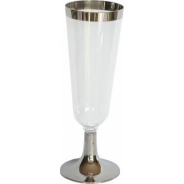 Duni Vienkartinės taurės šampanui 150 (100) ml, skaidrios/sidabro spalvos, PS, max +100°C, 12 vnt.