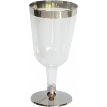 Duni Vienkartinės taurės vynui 180 (100) ml, skaidrios/sidabro spalvos, PS, max +100°C, 12 vnt.