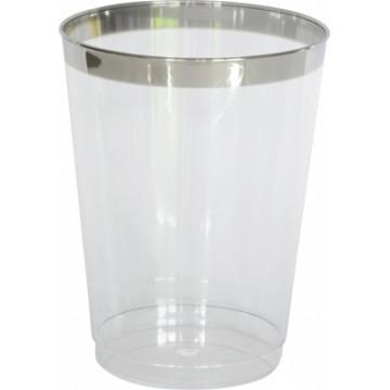 Duni Vienkartinės stiklinės sultims 300 (200) ml, skaidrios/sidabro spalvos, PS, max +100°C, 12 vnt.