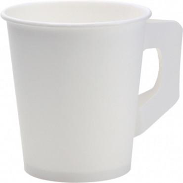 Duni Vienkartiniai puodeliai kavai su rankena (tinkamas 163601), PAP/PE, balti, 200 ml, max +100°C, 80 vnt.