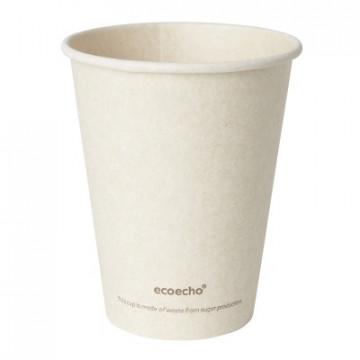 Duni vienkartiniai Ecoecho™ puodeliai kavai (tinkamas 182535), Bagasse, natūralios spalvos, 240 ml, max +100°C, 50 vnt.