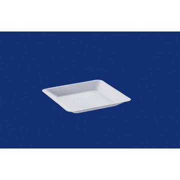 Vienkartinės cukranendrių lėkštės, baltos, kvadratinės,16 x16 cm, 50 vnt.