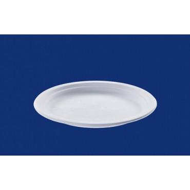 Vienkartinės cukranendrių lėkštės, baltos, apvalios, ø 23 cm, 50 vnt.