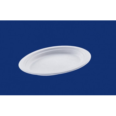 Vienkartinės cukranendrių lėkštės, baltos, ovalios, ø 26 cm, 50 vnt.