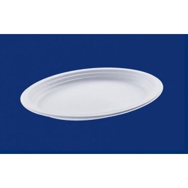 Vienkartinės cukranendrių lėkštės, baltos, ovalios, ø 32 cm, 50 vnt.