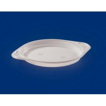 Vienkartinės lėkštės su rankenėlėmis, baltos, vieno skyriaus, PS, ø 16 cm, 100 vnt.