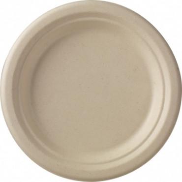 Duni vienkartinės cukranendrių lėkštės Ecoecho™ natūralios spalvos, apvalios, Bagasse, ø18 cm, max +100 °C, 50 vnt.
