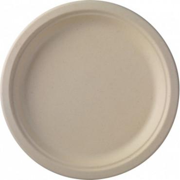 Duni vienkartinės cukranendrių lėkštės Ecoecho™ natūralios spalvos, apvalios, Bagasse, ø 26 cm, max +100 °C, 50 vnt.