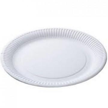 Vienkartinės lėkštės, baltos, popierinės, ø18 cm,100 vnt.