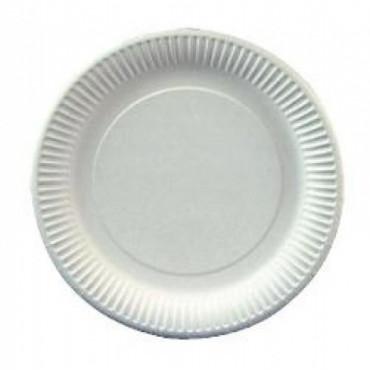 Vienkartinės lėkštės, baltos, popierinės, ø23 cm,100 vnt.