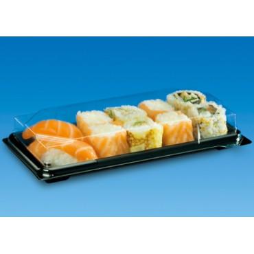 Vienkartiniai sushi indeliai su dangteliais 19,4x13,8 cm, 25vnt