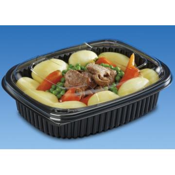 Vienkartiniai indeliai maisto išsinešimui (tinkamas COVCOOK1000TP), vieno skyriaus, juodi, PP, 17x21,5 cm, 1000 ml, tinkami mikrobangų krosnelei, 40vnt