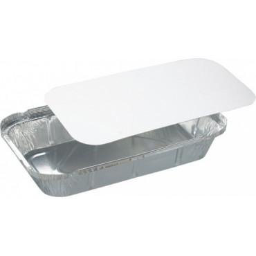 Duni Vienkartinės lėkštės, aliumininės su popieriniu dangčiu 650 ml, stačiakampės, baltos sp, 21,9x12,7x3,3 cm, ALU max +250°C PAP/PP max +70°C, 50 vnt.