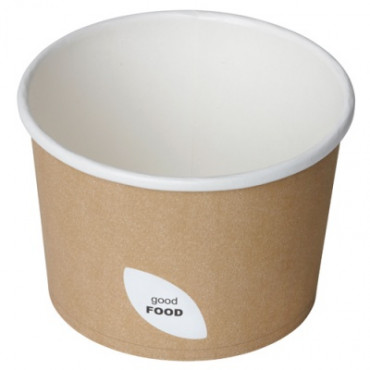 Duni Vienkartiniai Ecoecho™ dubenėliai sriubai (tinka 170737), 550 ml, rudi, Cardboard/PLA, 11,5x11,5x7,7 cm, max +100°C, 50 vnt.