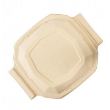 Duni Ecoecho Vienkartiniai Dangteliai  dubenėliui (tinkamas 188142), Bagasse, kvadratiniai, rudos spalvos, 29x23,3x4,2cm, , max +100°C,tinkami mikrobangų krosnelei 50 vn