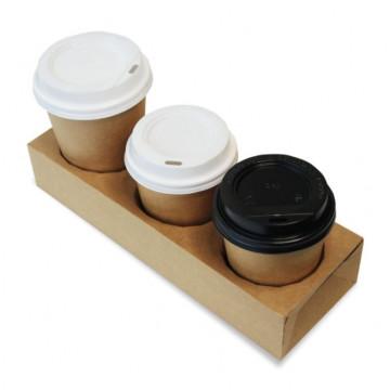 Vienkartiniai puodelių padėklai išsinešimui, 3 dalių, kartoniniai, rudos sp., 26x9x5 cm, 25 vnt.