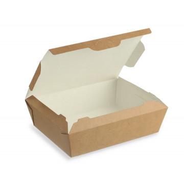 Vienkartinės dėžutės karštam maistui  1l, (kartu su dangteliu), kartoninės, rudos sp., 19x15x5 cm, 25 vnt.