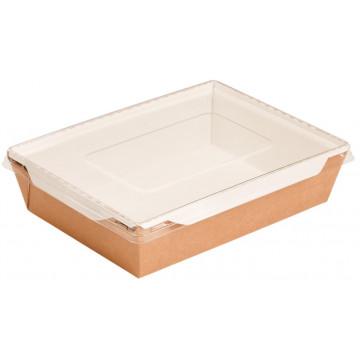 Vienkartinės dėžutės maistui, 1l, (dangtelis įdėtas kartu), kartoninės, rudos sp., 22x16x5,5 cm,  50 vnt.