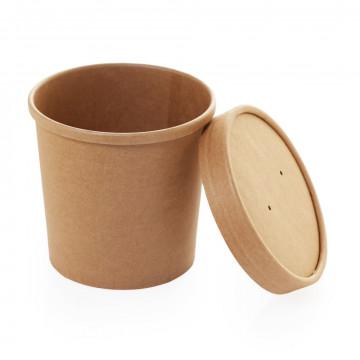 Vienkartiniai indeliai sriubai, kartu su dangteliu, 340 ml, kartoniniai/PP, 7x8,5 cm,  25 vnt.