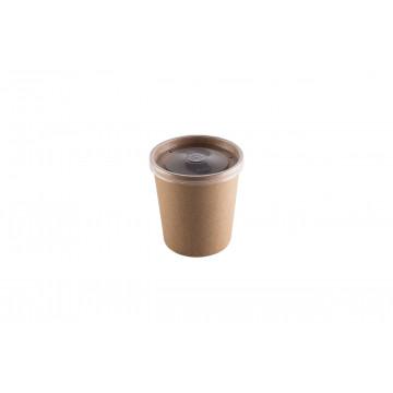 Vienkartiniai indeliai sriubai, kartu su PP dangteliu, 450 ml, kartoniniai/PP, 7,5x10 cm, 25 vnt.