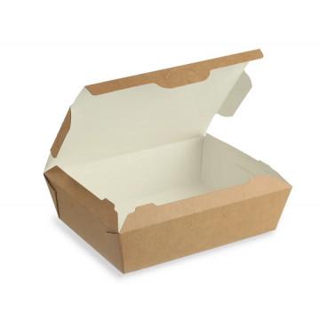 Vienkartinės dėžutės maistui, su liežuvėliu kartoninės/PP, 13,6x15x5cm, 25 vnt.