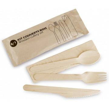 Vienkartinių stalo įrankių rinkinys 4/1  (šakutė, peilis, šaukštas, servetėlė) mediniai, 16,5x10mm, 300vnt.