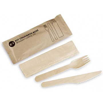 Vienkartinių stalo įrankių rinkinys 3/1  (šakutė, peilis, servetėlė) mediniai, 16,5x10mm, 300vnt.
