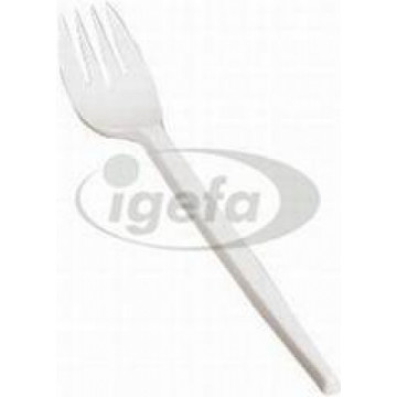 Vienkartinės šakutės PS 17,5 cm, balto plastiko, (100vnt)