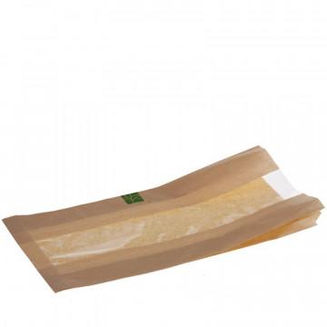 Vienkartinis maišelis/įmautė sumuštiniams, natūralios spalvos su skaidriu langeliu, celiuliozė/PLA, 6+2x4x37 cm, 500vnt