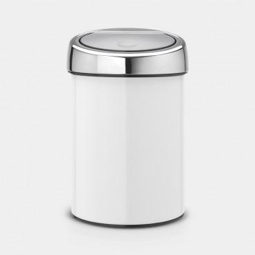 Šiukšlių dėžė Brabantia Touch Bin, balta, 3l