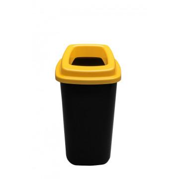 Šiukšlių dėžė rūšiavimui, juoda, geltonu dangčiu, 45l
