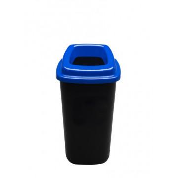 Šiukšlių dėžė rūšiavimui, juoda, mėlynu dangčiu, 45l