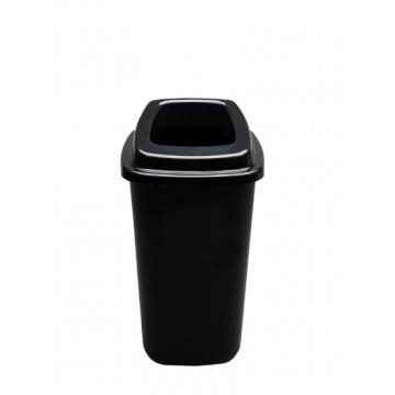 Šiukšlių dėžė rūšiavimui, juoda, juodu dangčiu, 45l