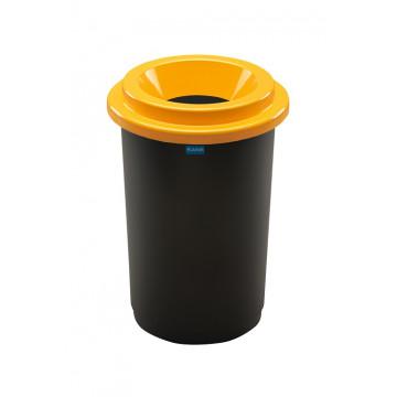 Šiukšlių dėžė rūšiavimui, juoda, apvali, geltonu dangčiu, 50l