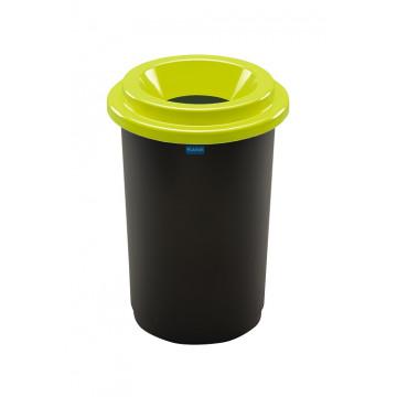 Šiukšlių dėžė rūšiavimui, juoda, apvali, žaliu dangčiu, 50l
