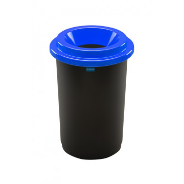 Šiukšlių dėžė rūšiavimui, juoda, apvali, mėlynu dangčiu, 50l