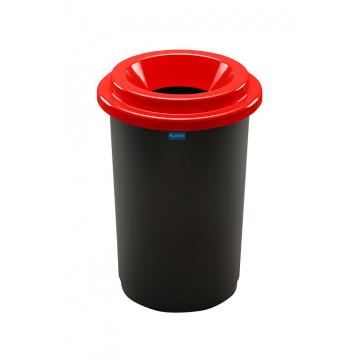 Šiukšlių dėžė rūšiavimui, juoda, apvali, raudonu dangčiu, 50l