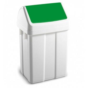 Šiukšlių dėžė su svyruojančiu žaliu dangčiu Max, 12l