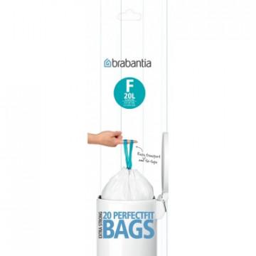 Šiukšlių maišai Brabantia Slimline (F), balti, 20l, 20vnt.